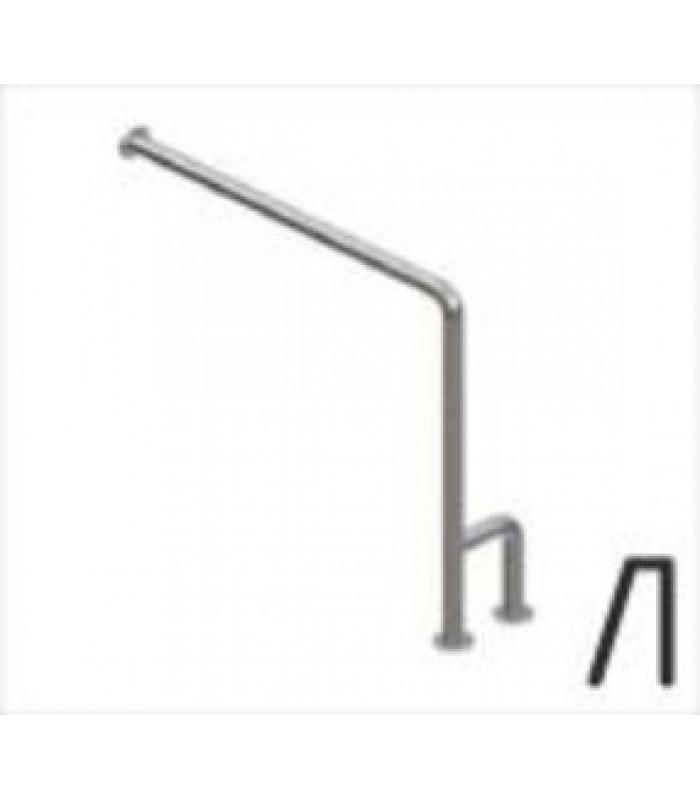 Поручень для санузла с двойной опорой к стене и полу, левый