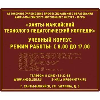 """Тактильная табличка комплексная """"Вывеска"""" 300х400"""
